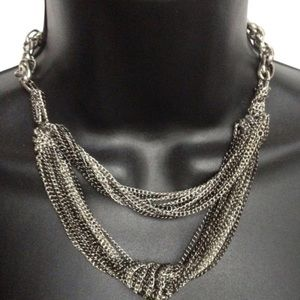 BCBGENERATION NECKLACE LAYERED TIERED SILVER TONED